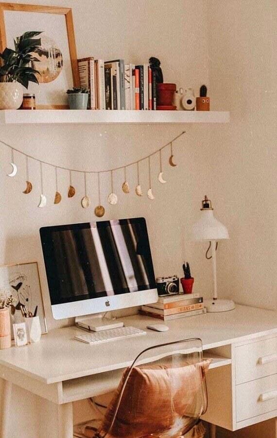 escrivaninha branca para cantinho de estudo tumblr Foto Homedit