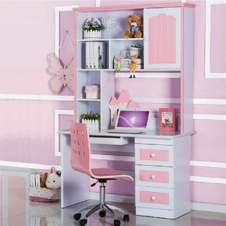 escrivaninha com estante para quarto de menina Foto Pinterest