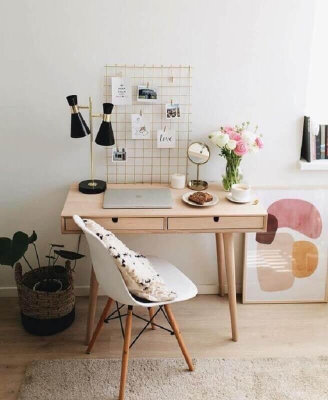 escrivaninha de madeira para escritório em casa simples Foto Pinterest