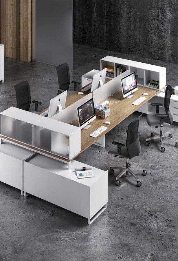 estação de trabalho com mesa de madeira para escritório Foto Pinterest