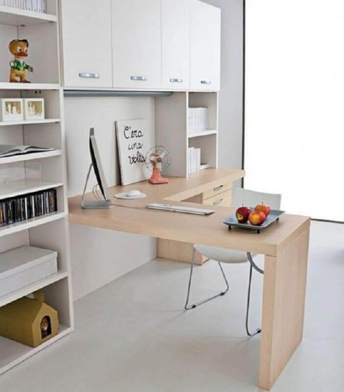 estante com escrivaninha com bancada de madeira Foto Futurist Architecture