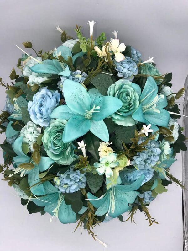 flor de maio azul buque artificial