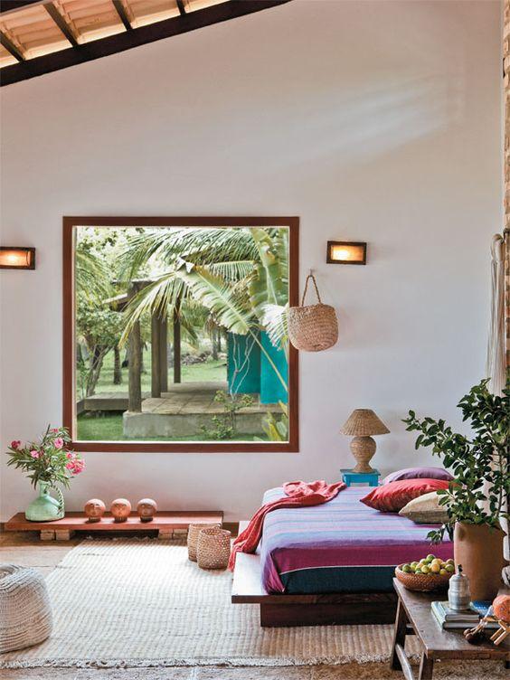 Janelas de madeira com vidro para quarto moderno