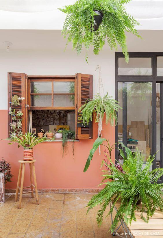Janelas de madeira para casa com plantas