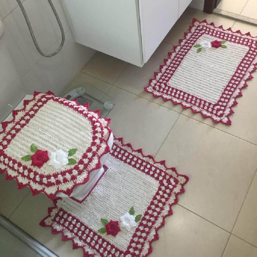jogo de banheiro de crochê com flores simples Foto Talita Padilha