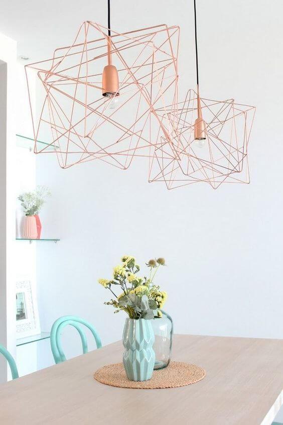 Lustre aramado rose gold para mesa de cozinha moderna