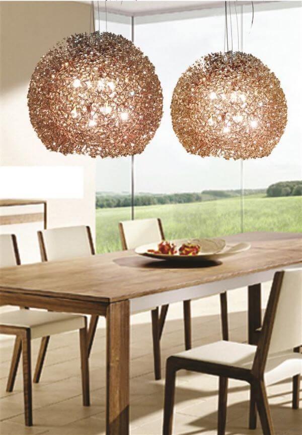 Lustre cobre para mesa de jantar