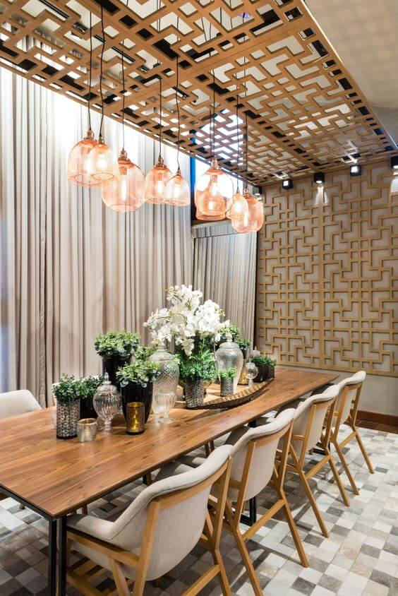 Lustre rose gold para decorações modernas