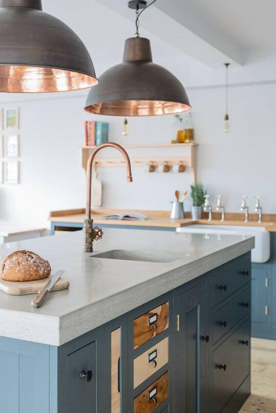 Lustre para cozinha cinza no estilo industrial