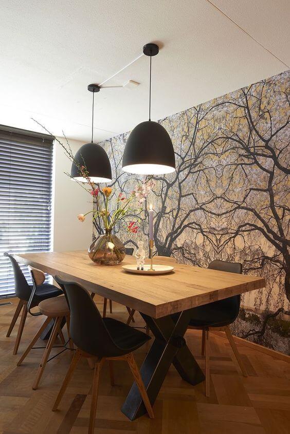 Lustre preto para sala de jantar