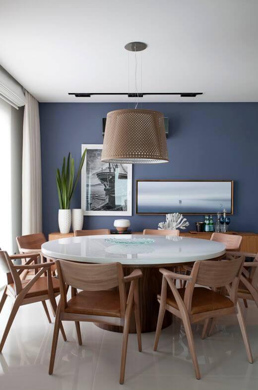 Lustre para sala de jantar azul