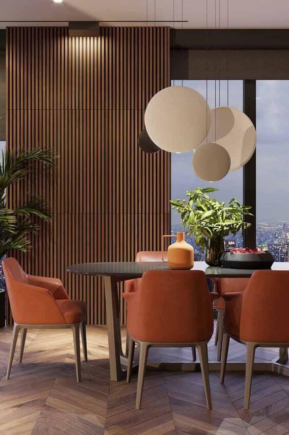 Lustre redondo para sala de jantar moderna