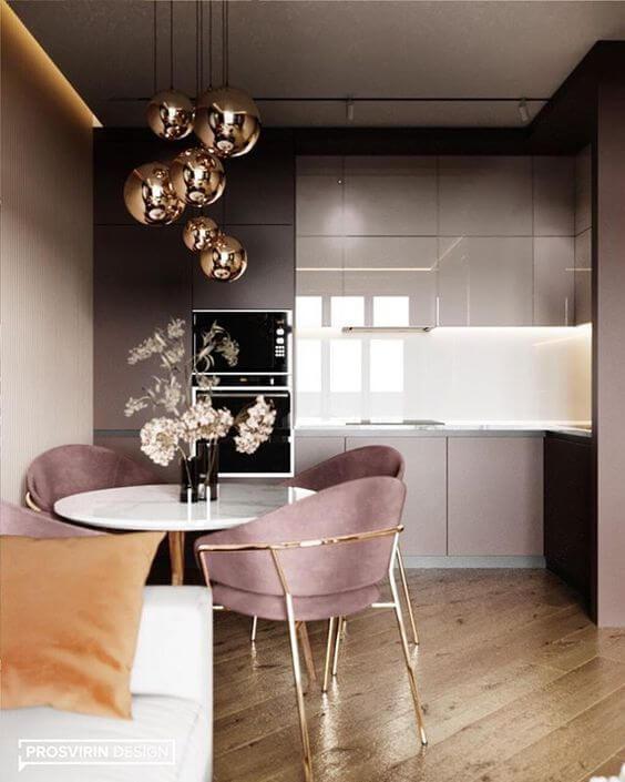 Lustre rose gold para cozinha moderna