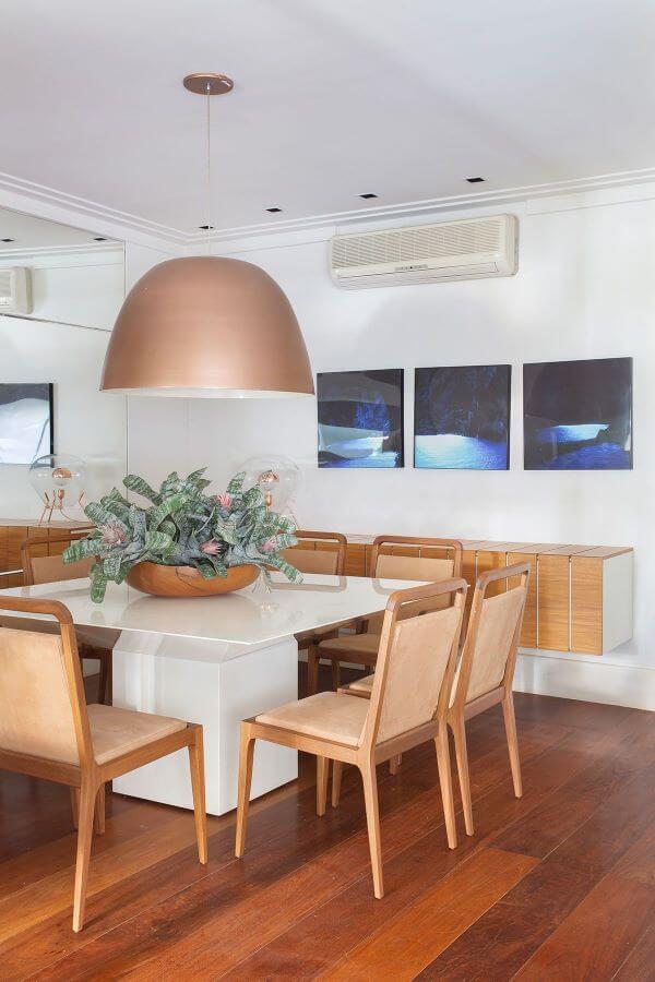 Lustre rose gold moderno para sala de jantar