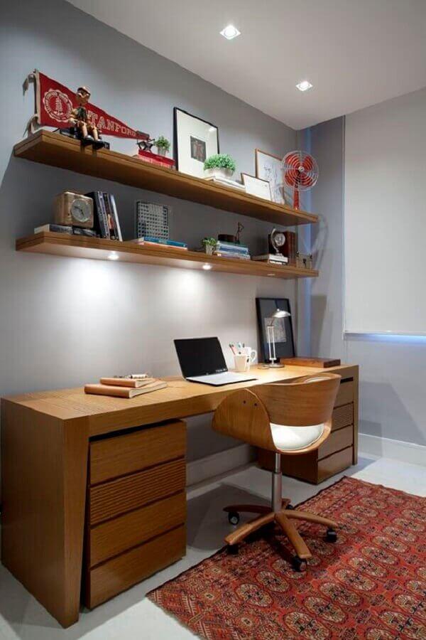móveis de madeira para decoração de escritório em casa Foto Pinterest