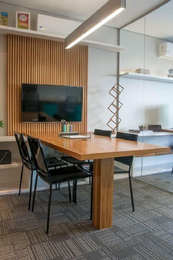 mesa de madeira para escritório planejado Foto Decoração e Arte