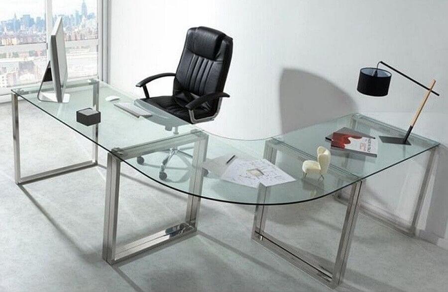 mesa de canto para escritório em vidro Foto Webcomunica