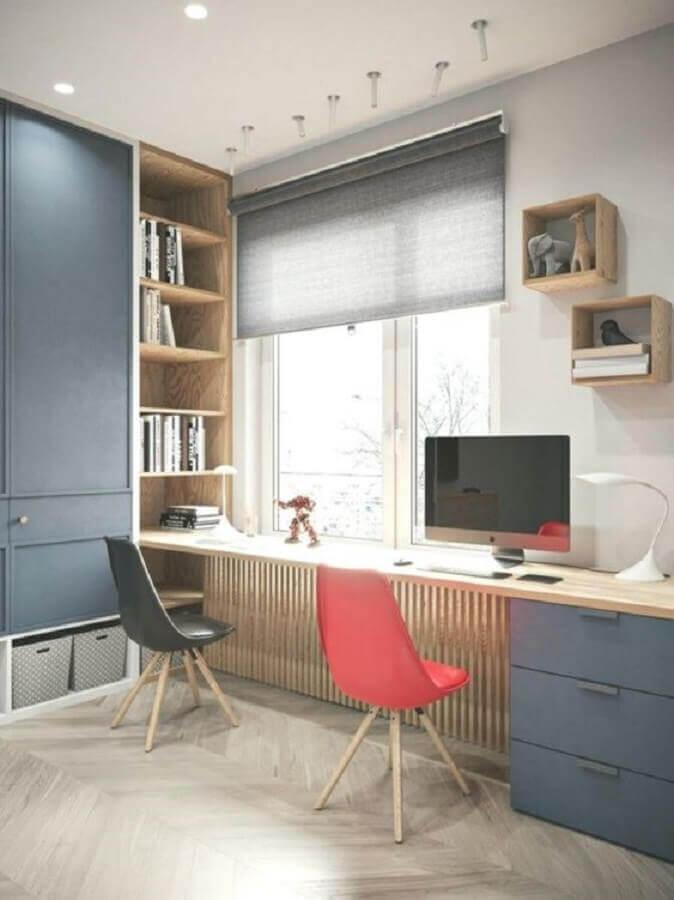 mesa de escritório com armário e gavetas planejadas Foto Eu Amo Decoração