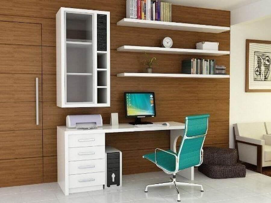 mesa de escritório com gaveta simples Foto Fabi Santina