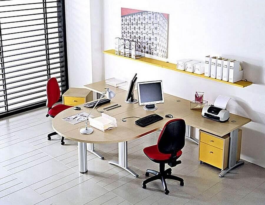 mesa de escritório em L com gaveteiro de rodinha Foto Pinterest