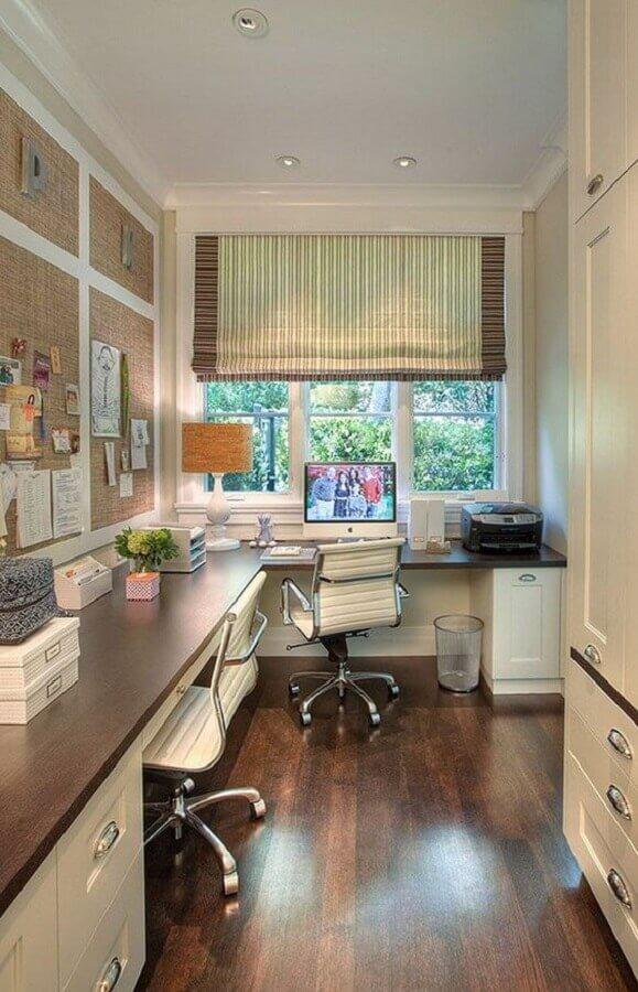 mesa de escritório em L planejada Foto Comprando meu Apê