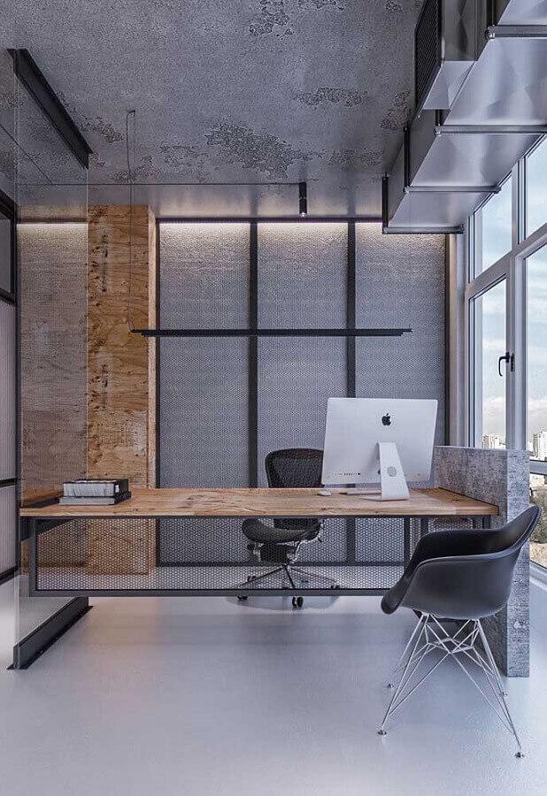 mesa de escritório moderna com estrutura metálica e tampo de madeira Foto Behance