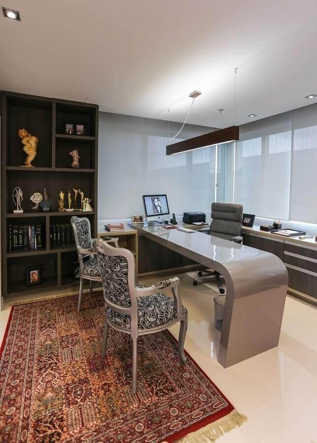 mesa de escritório moderna planejada cinza Foto ArchZine