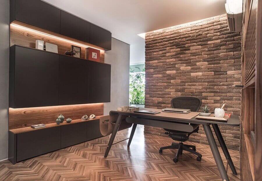 mesa de escritório preta para decoração moderna Foto Fernanda Dabbur Arquitetura