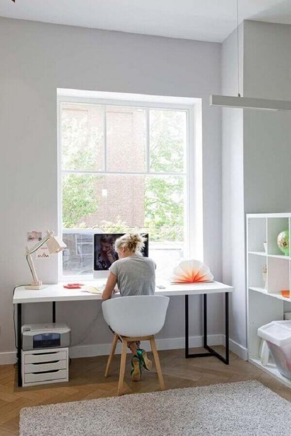 mesa de escritório simples branca Foto Princesas Empreendedoras