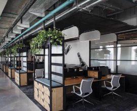mesa de madeira para escritório com tampo de madeira Foto Futurist Architecture