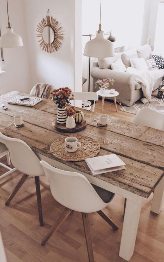 Mesa de jantar rustica para casa moderna