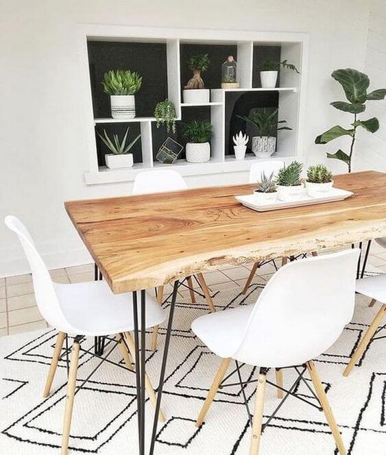 Mesa de madeira rústica para decoração industrial