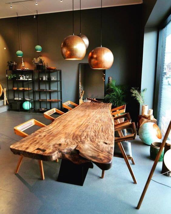 Mesa de madeira rústica para sala de jantar