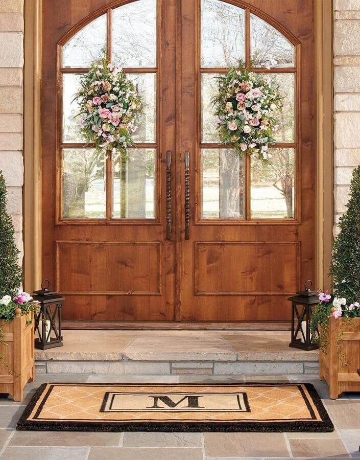 modelo clássico de porta francesa de madeira e vidro Foto Pinterest