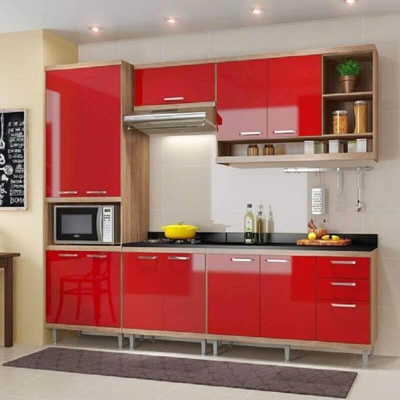 modelo de cozinha modulada vermelha Foto Assetproject
