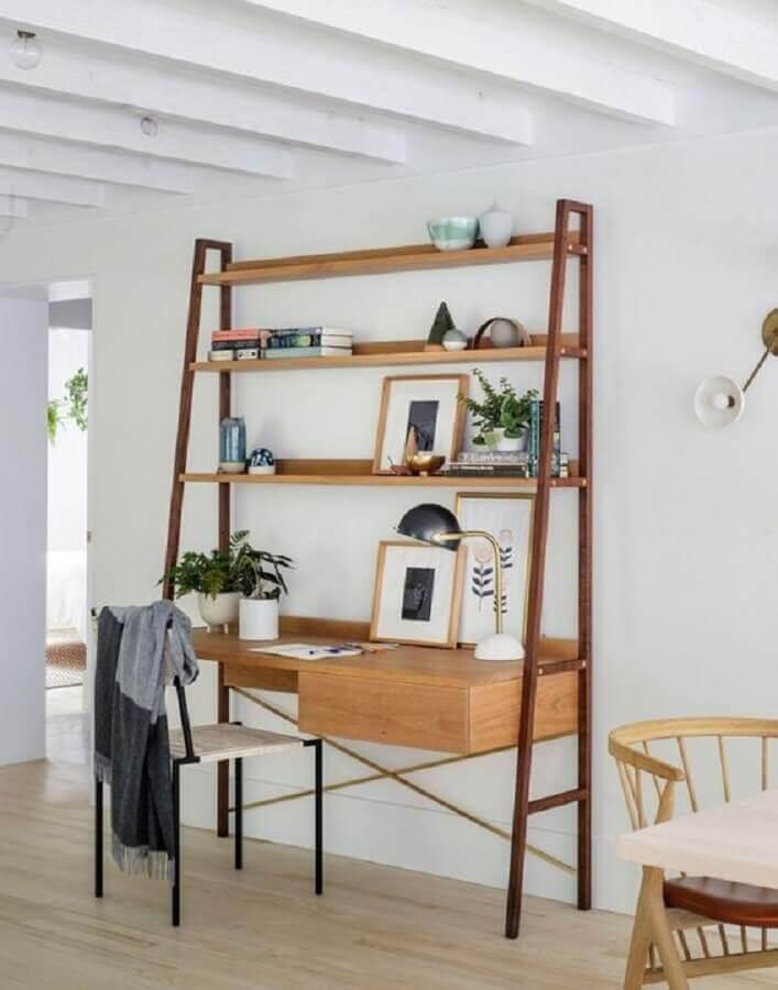 modelo de escrivaninha com estante de madeira Foto Pinterest