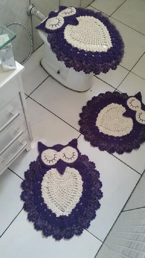 modelo de jogo de banheiro de coruja branco e roxo Foto Pinterest