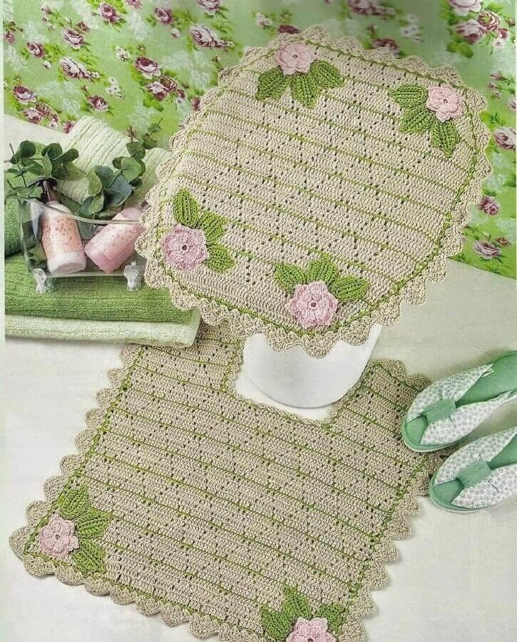 modelo de jogo de banheiro de crochê verde com flores Foto Pinterest