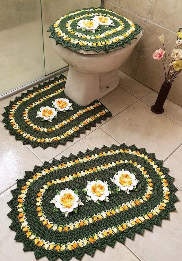 modelo de jogo de banheiro de crochê verde e amarelo Foto Revista Artesanato