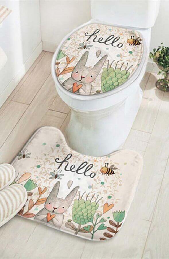 modelo de jogo de banheiro de tecido com estampa lúdica Foto Pinterest