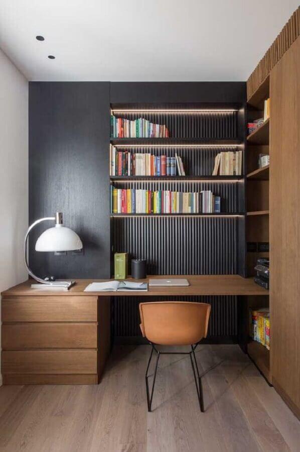 modelo planejado de mesa de escritório com gaveta de madeira Foto Pinterest