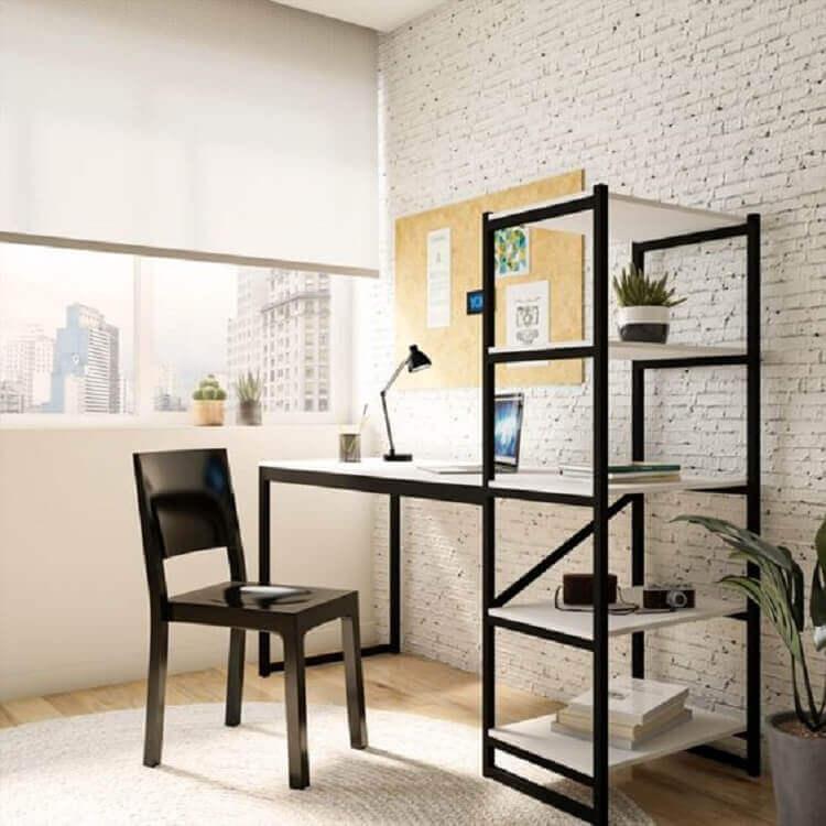 modelo simples de escrivaninha com estante Foto Webcomunica