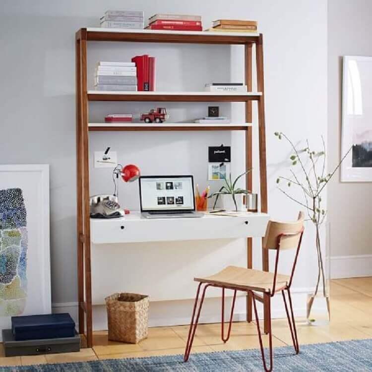 modelo simples de escrivaninha com estante Foto West Elm