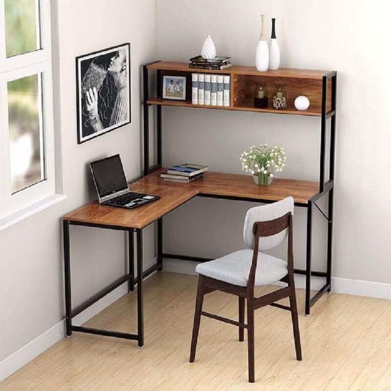 modelo simples de escrivaninha de canto com estante Foto Tribesigns Official