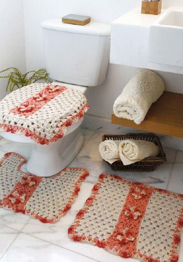 modelo simples de jogo de banheiro de crochê Foto Pinterest