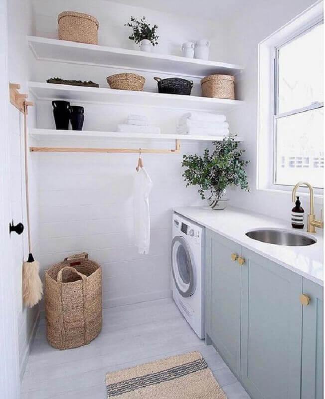 modelos de lavanderia planejada com decoração clean Foto Miranda Bastos