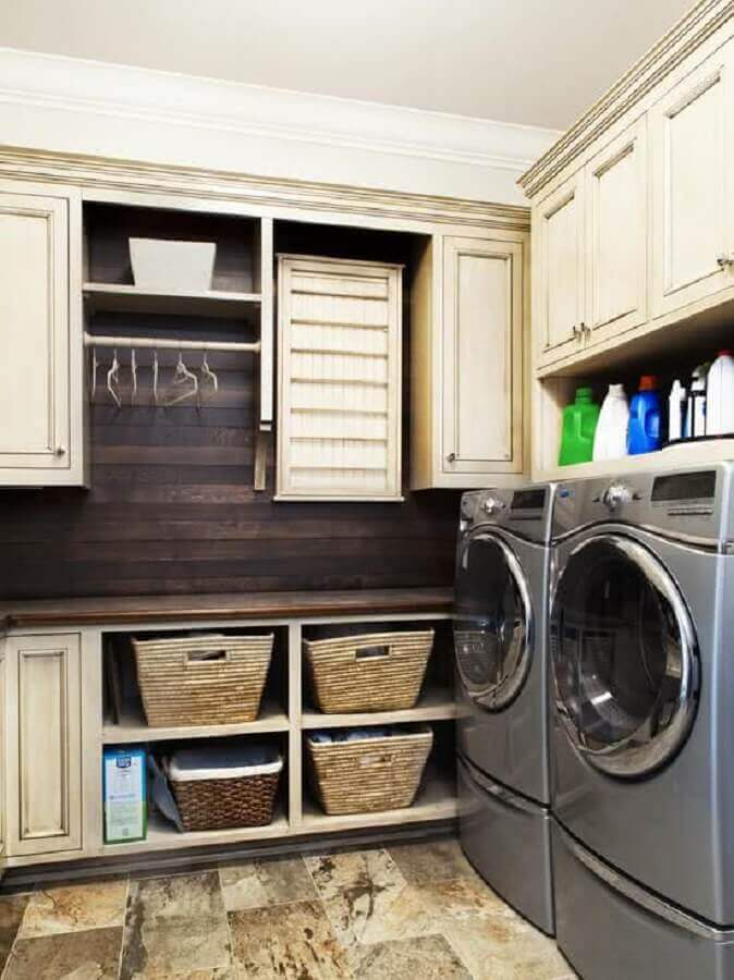modelos de lavanderia planejada com revestimento rústico Foto Decoração e Ideias