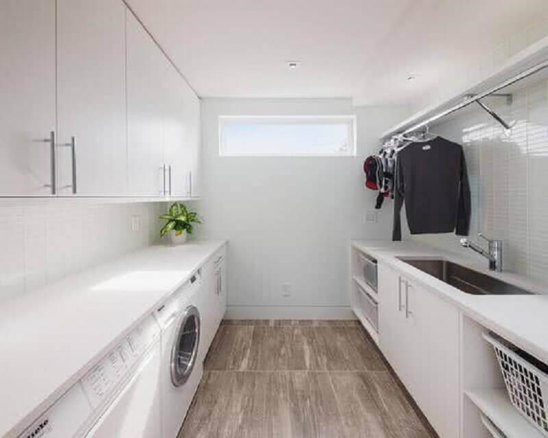 modelos de lavanderia planejada toda branca Foto Construção e Design