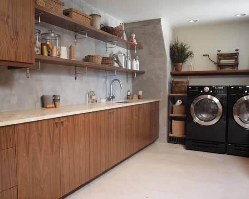 modelos de lavanderia toda em madeira Foto Home Map Design
