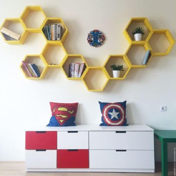 nicho colmeia amarelo quarto